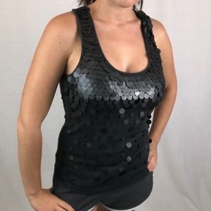21   Deatiled From Black Sparkling Tank Top Small
